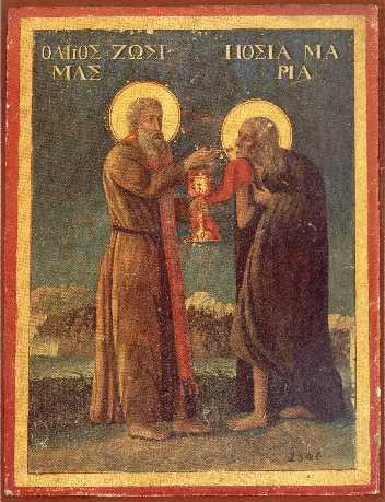 Sf. Zosima impartasind pe Maria Egipteanca